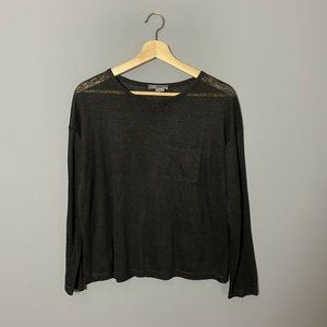 Vince Solid Black Long Sleeve Linen Knit Tee Shirt